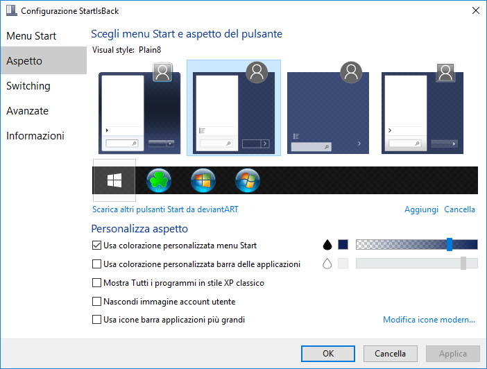 Come avere il menu Start di Windows 7 su Windows 10