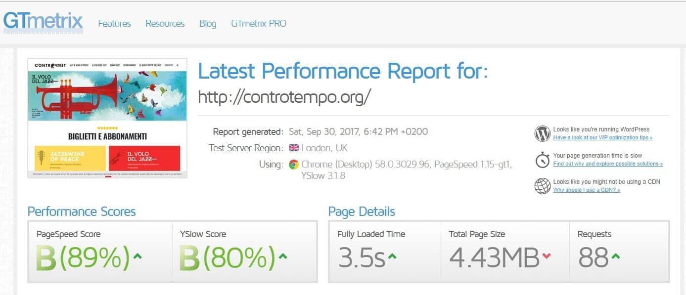 Prestazioni GT-Metrix del sito Controtempo.org