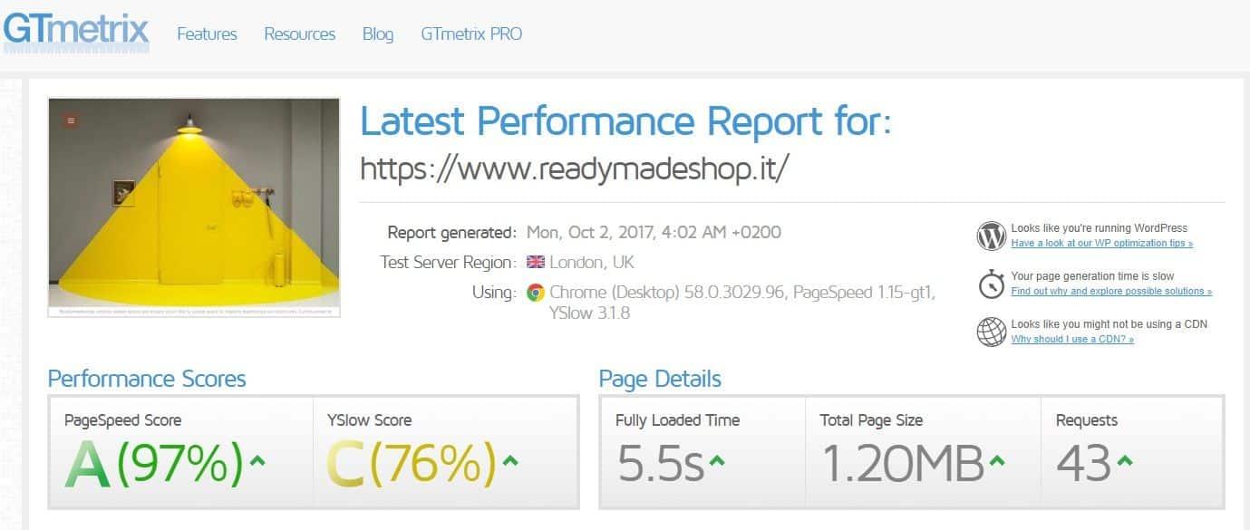 Prestazioni GT-Metrix del sito ReadyMadeShop.it